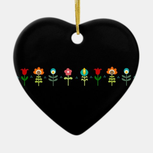 Pretty Retro folk flowers Ceramic Ornament