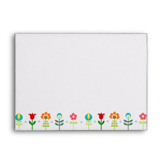Pretty Retro folk flowers Envelopes