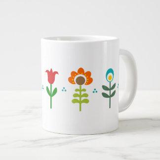 Pretty Retro folk flowers Giant Coffee Mug