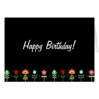 Pretty Retro folk flowers Happy Birthday Cards