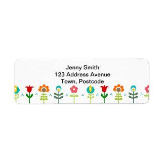Pretty Retro folk flowers Label