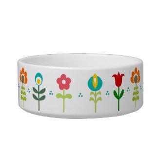 Pretty Retro folk flowers Cat Bowl