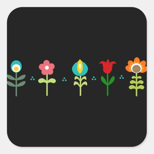 Pretty Retro folk flowers Square Sticker