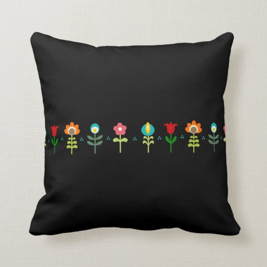 Pretty Retro folk flowers Throw Pillow