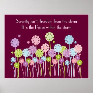 Pretty Retro Serenity Flowers & Butterflies Poster
