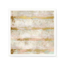 Pretty Retro Vintage Watercolor Stripes Pattern Napkin