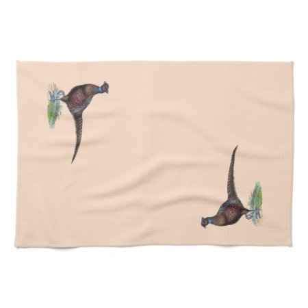 Pretty Ring Neck Pheasant Hand Towels
