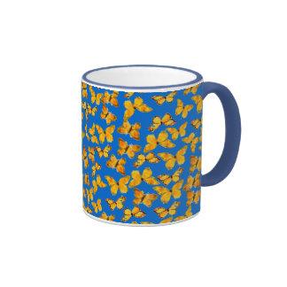Pretty Ringer Mug, Golden Butterflies on Sky Blue Ringer Coffee Mug