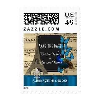 Pretty romantic vintage Paris save the date Postage Stamps