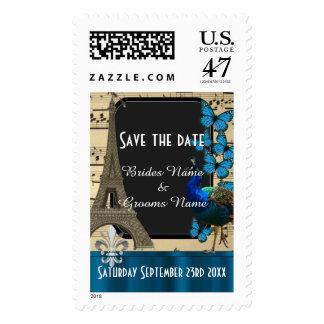 Pretty romantic vintage Paris save the date Postage