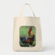Pretty Rooster Crowing Farm Animal Tote Bag