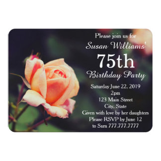 Pretty Rose 75th Birthday Party Invitation