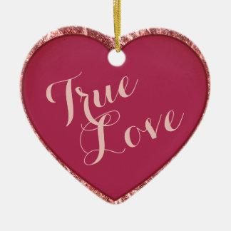 Pretty Rose Gold and Cherry Red True Love Heart Ceramic Ornament
