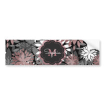 Pretty rose gold floral illustration pattern bumper sticker