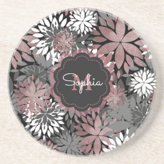 Pretty rose gold floral illustration pattern drink coaster