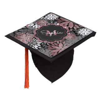 Pretty rose gold floral illustration pattern graduation cap topper
