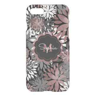 Pretty rose gold floral illustration pattern iPhone 7 case
