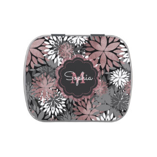 Pretty rose gold floral illustration pattern jelly belly tin