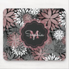 Pretty rose gold floral illustration pattern mouse pad