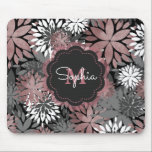 "Pretty rose gold floral illustration pattern mouse pad<br><div class=""desc"">Pretty rose gold floral illustration pattern, elegant, stylish, dark and light grey shades, white, faux rose gold foil texture, customization, monogram, personable, pink colors floral, blossom , garden spring flowers, flower shapes, artwork, design, dark grey chalk board effects background, unique, vibrant, happy, whimsical, popular, cute, modern, pretty, artistic, sweet, stylish,...</div>"