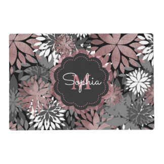 Pretty rose gold floral illustration pattern placemat