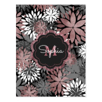 Pretty rose gold floral illustration pattern postcard