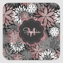 Pretty rose gold floral illustration pattern square sticker