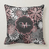 Pretty rose gold floral illustration pattern throw pillow