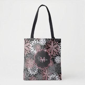 Pretty rose gold floral illustration pattern tote bag