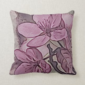 Pretty Rose Tinted Floral Blooms Throw Pillow