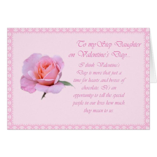 Pretty Rose Valentines Day StepDaughter Card  Zazzlecom
