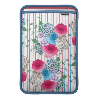 Pretty Roses Floral and Stripe Mix MacBook Sleeves