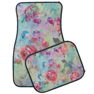 Pretty roses floral paint watercolors design car floor mat