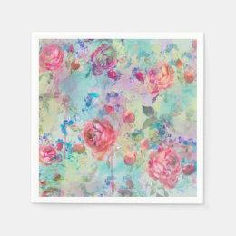 Pretty roses floral paint watercolors design napkin