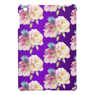 Pretty Roses Floral Purple Case For The iPad Mini