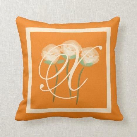 Pretty Roses Monogram  Kiss Throw Pillow