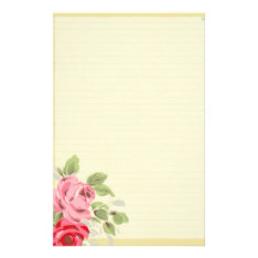 Pretty Roses On Lined Background Stationery at Zazzle
