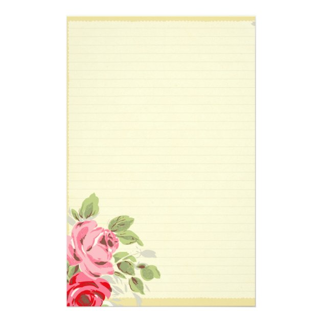Pretty Roses On Lined Background Stationery  Lined Stationary Template