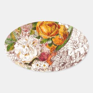 Pretty Roses Oval Sticker