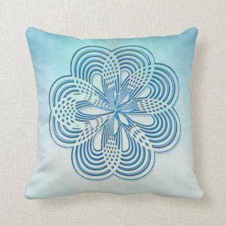 pretty rosette pillow design blue on blue