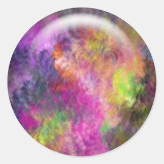 Pretty Round Rainbow Arts and Crafts Classic Round Sticker