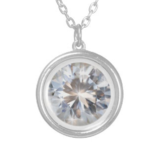 Pretty rounded diamond silver plated necklace