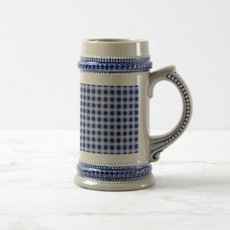 Pretty Royal Blue and White Gingham Check Pattern Beer Stein