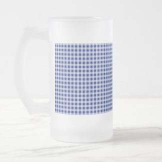 Pretty Royal Blue and White Gingham Check Pattern Frosted Glass Beer Mug