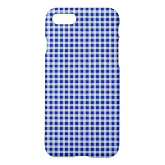 Pretty Royal Blue and White Gingham Check Pattern iPhone 7 Case