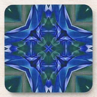 Pretty Royal Blue Cross Shape Pattern Beverage Coaster