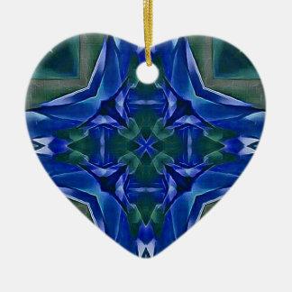 Pretty Royal Blue Cross Shape Pattern Ceramic Ornament