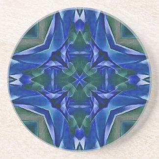 Pretty Royal Blue Cross Shape Pattern Coaster