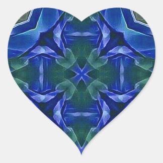 Pretty Royal Blue Cross Shape Pattern Heart Sticker