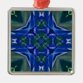Pretty Royal Blue Cross Shape Pattern Metal Ornament